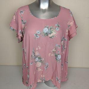 Torrid Pink Floral Georgette Hi Lo Blouse